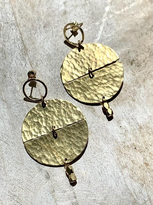 Circular Hammered Brass Earrings FEA74