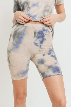 Fitted Tie Dye French Terry Biker Shorts - Cream/Blue P04