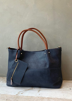 3-1 vegan leather large bag shoulder travel navy Wellington
