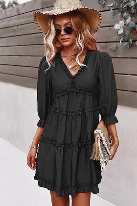 Loose Fit Ruffle Dress - Black DR03