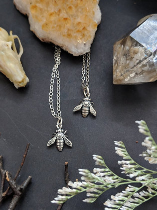 WORN BY WARRIORS  - sterling silver bee necklace