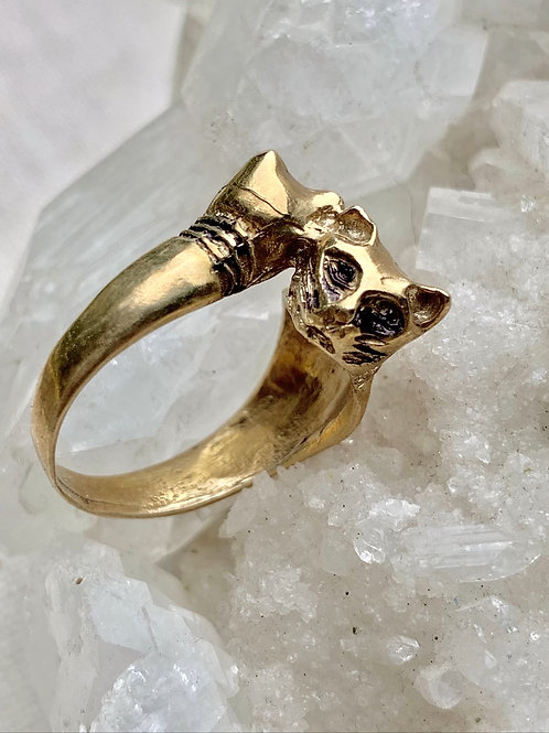 GEMINI ~ Double Headed Cat Ring in Bronze or Sterling