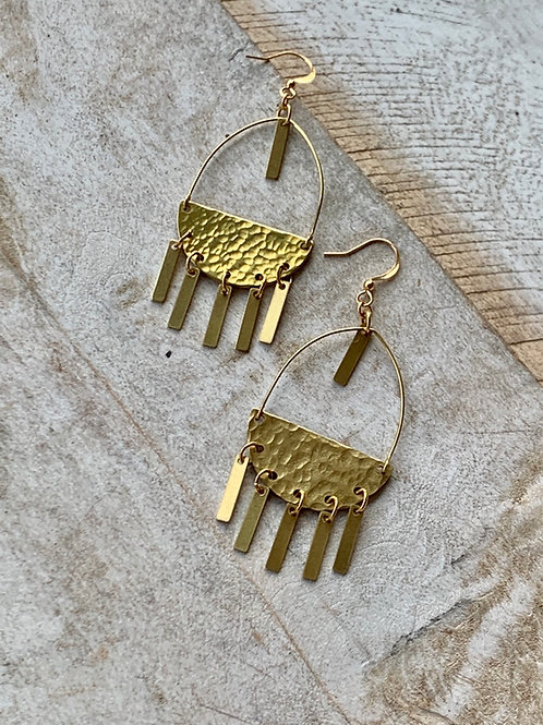 Brass Semicircle with Hanging Bars Earrings FEA48
