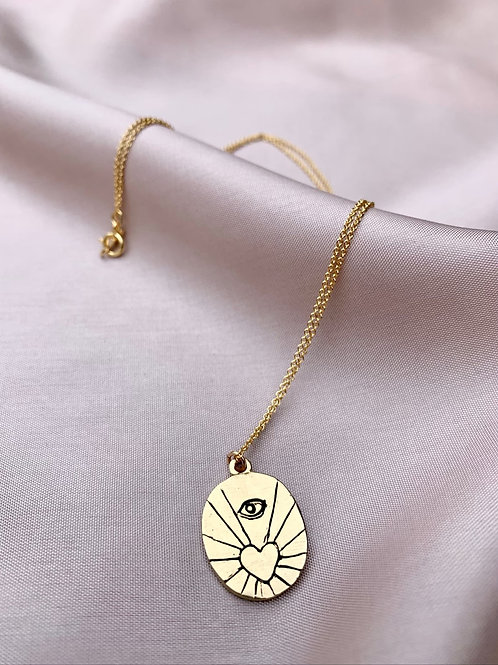 AMORA ~ Evil Eye + Heart Necklace in Bronze or Sterling