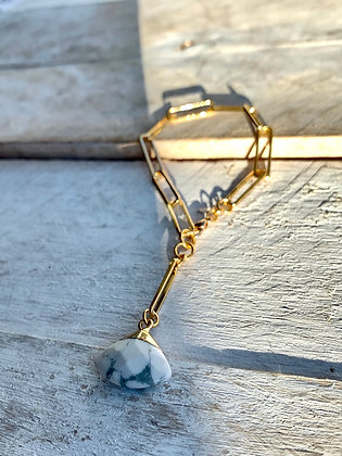 FRÜG Howlite Bracelet with Rectangular Chain FBA20