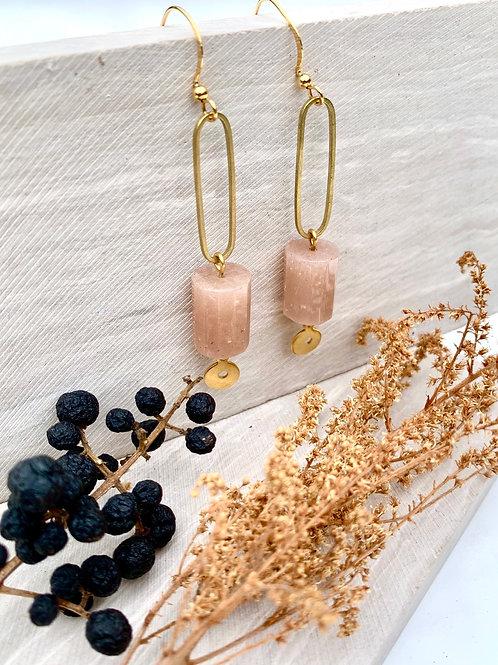 'Xoan' Moonstone Barrel Beads & Vintage Brass Earrings FE91