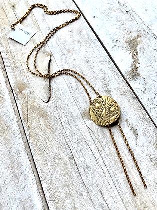 SOUVENIR Textured Brass Bolo Tie Necklace