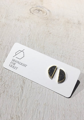 MOONLIGHT FOR VIOLET 'Speckled Black' Semicircle Earrings MVS01