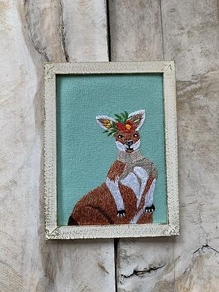CHIKANKARI Hand Embroidered  Wall Critters - Kangeroo HG48