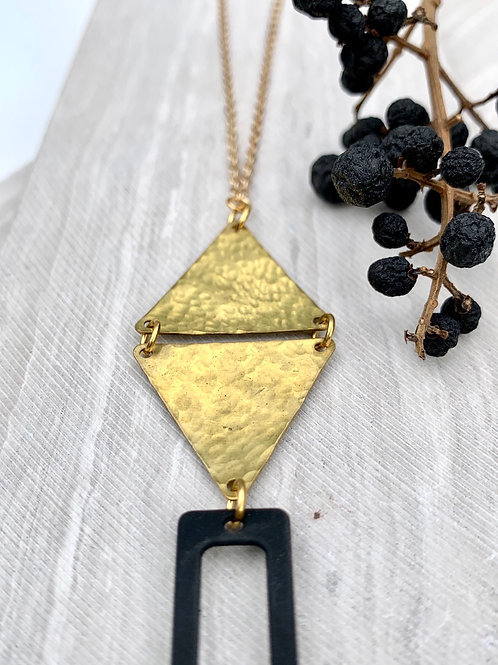 'Jayde' Hammered Brass Triangle Necklace