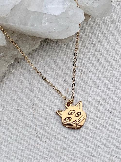 NOVA ~ 3 Eyed Cat Necklace in Bronze or Sterling