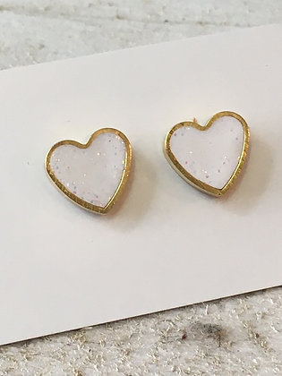 MOONLIGHT FOR VIOLET white hearts w/ sparkle earrings