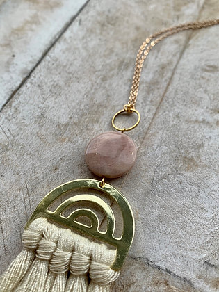 FRÜG Ivory Tassel + Moonstone Necklace FNA41