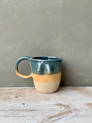 MOSELLE Blue + Half Unglazed Mug small handle - BOOB8 (does not ship)