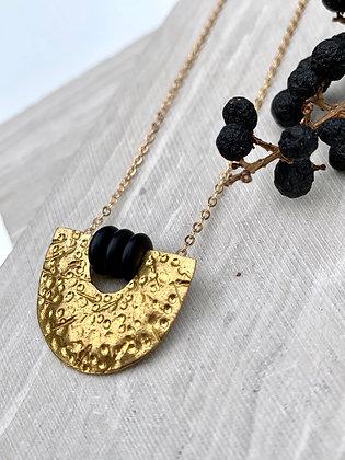 FRUG 'Nyah' Brass Textured Crescent Necklace
