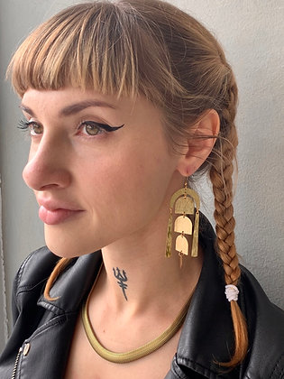 FRÜG Long Smooth Brass Dangle Earrings FEA51