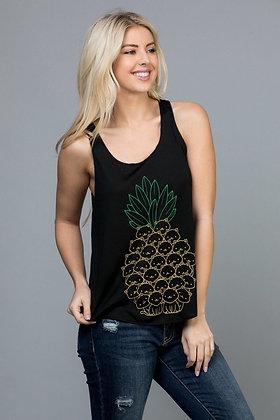 Pineapple With Cat Head Print Tank Top TT08