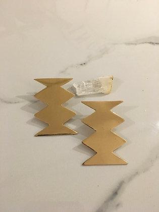 brass zigzag statement post earrings