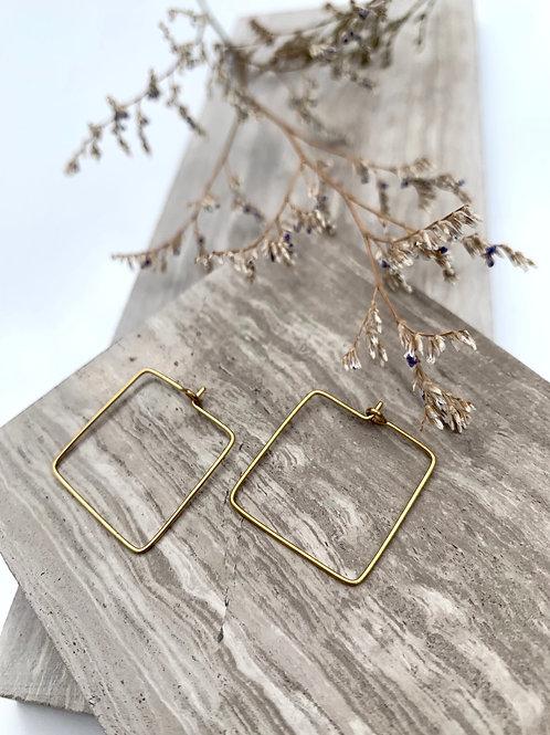 Brass Wire Square Earrings FE52