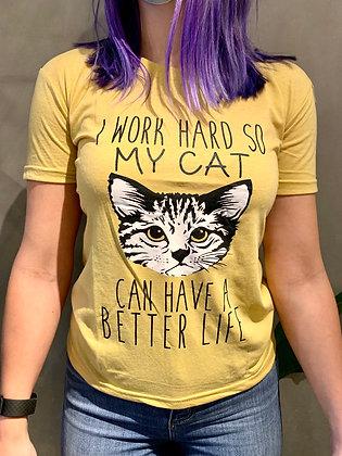 Work Hard Cat T-shirt - Mustard TS03