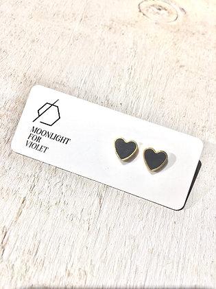 MOONLIGHT FOR VIOLET 'Charcoal Black' Heart Earrings MVH04