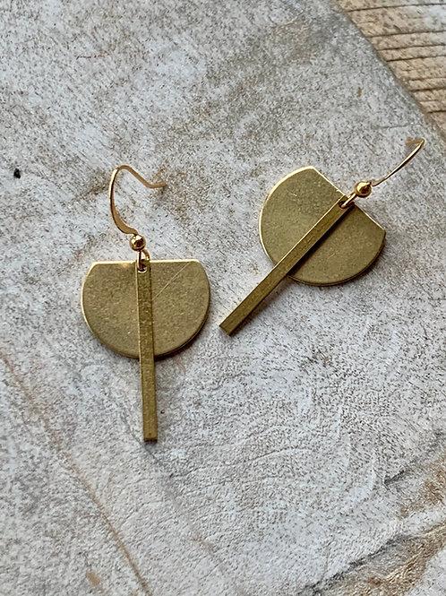 Modern Brass Crescent + Bar Earrings FEA44