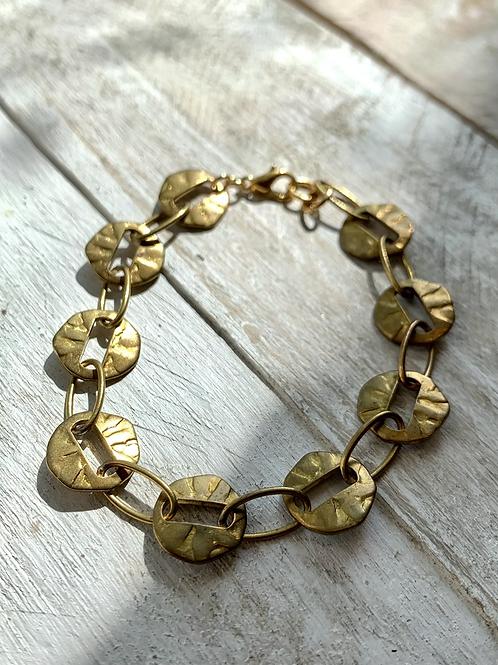 Circular Link Vintage Brass Bracelet FBA32