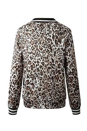 Leopard Printed Zip Up Bomber Jacket - Tan/Black SW15