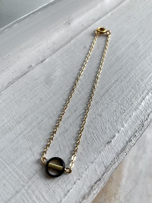Black + Gold Loop Bracelet FBA20