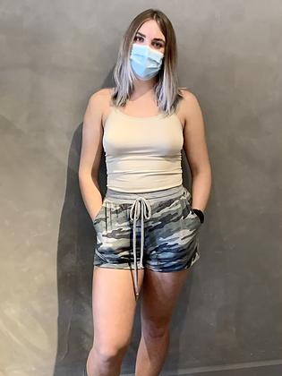Semi-loose Fitting Drawstring Shorts - Camouflage P02