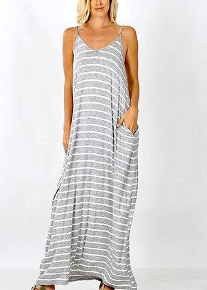 Striped Spaghetti Strap Flowy Maxi Dress - Grey DR11