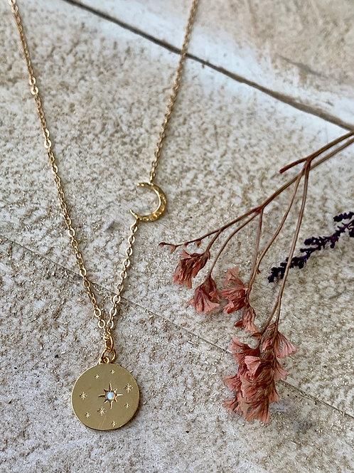 Opal Pendant + Crescent Moon Necklace FNA06