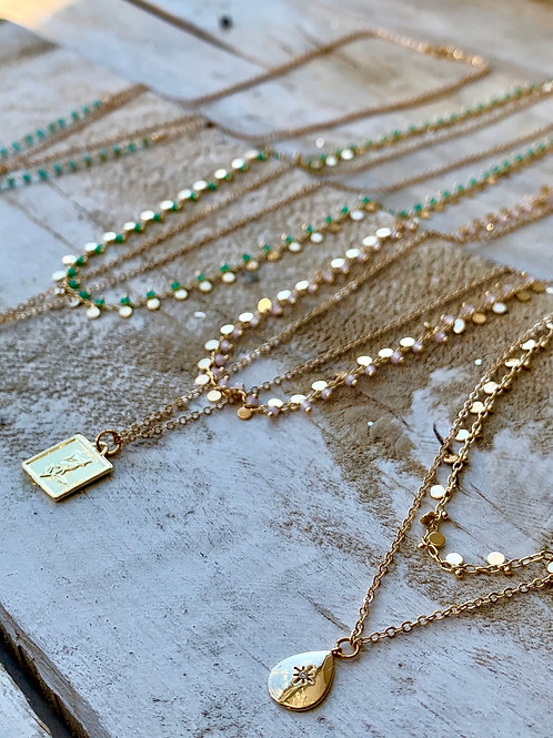 Double Strand Necklace With Glass Beads and Charm FNA80