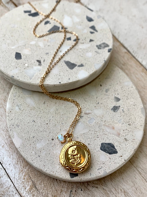 Locket and Opal Necklace FNA05