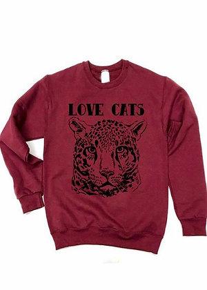Love Cats sweatshirt  - burgundy  and black SW03