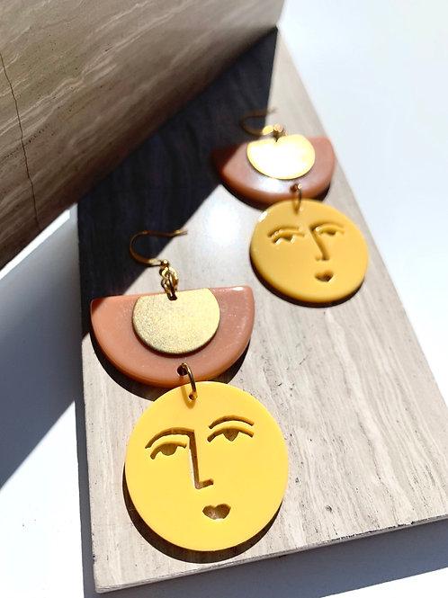 'Ludik' Acrylic Abstract Face Earrings FE95