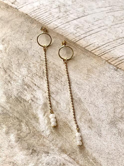 Moonstone Drop Post Earrings FEA38