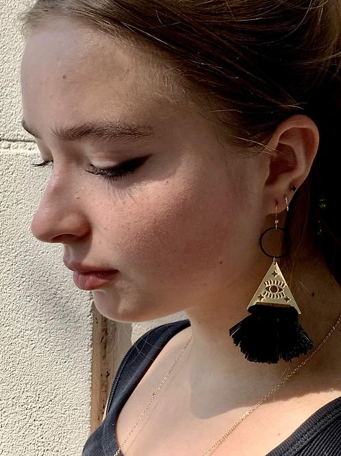 Black Tassle Loop Earrings FEA45