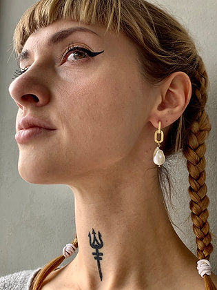 FRÜG Pearl + Chain Link Earrings FEA05