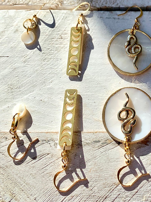 Shell and Brass Moon Phase Necklace or Earrings FNA22
