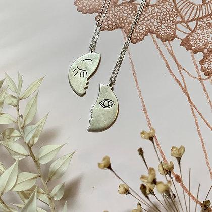 TAMARA STEINBORN 'Solis' or 'Luna' Bronze or Sterling Sun & Moon Necklaces
