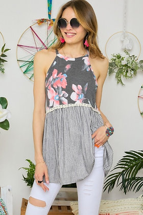 Floral & Stripe French Terry Flare Tank Top - Grey TT06