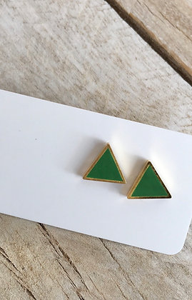 MOONLIGHT FOR VIOLET 'Kelly Green' Triangle Earrings MVT01