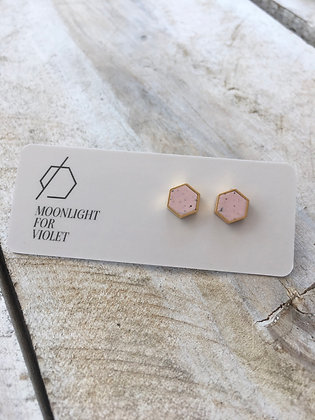 MOONLIGHT FOR VIOLET Pale Pink Speckled Hexagon Earrings