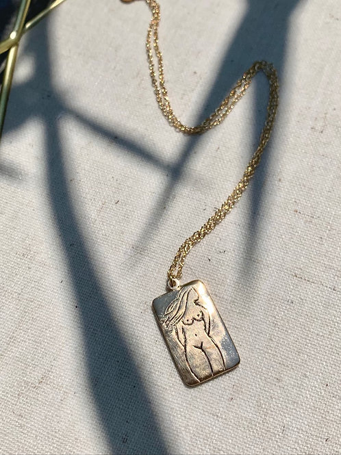 GERMAINE ~ Silhouette Necklace in Bronze or Sterling