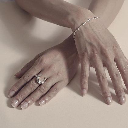 SARASWATI Sterling Crescent Ring