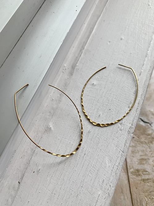 Hammered Oval Hoop Earrings FEA53