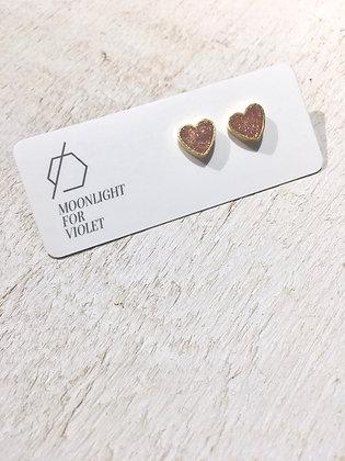 MOONLIGHT FOR VIOLET 'Rose Gold Shimmer' Heart Earrings MVH07