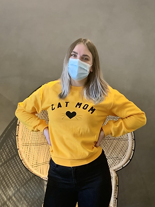 'Cat Mom' Sweatshirt -  Orange SW21