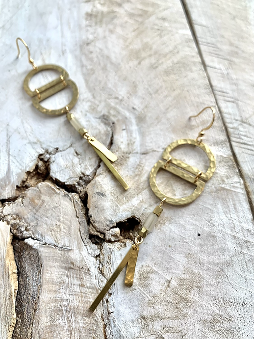 Two Semi Circle Hammered Brass Earrings FEA55